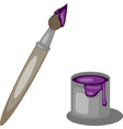 brush and colorful paint bright purple color vector image