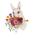 Bunny and a bunch of flowers vector image vector image