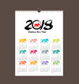 calendar 2018 design chinese new year the year of vector image