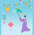 chinese lunar new year carnival people with fish vector image vector image