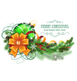 Christmas ball with bow and fir branch vector image vector image