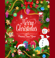 christmas tree and gifts wreath with elf snowman vector image vector image