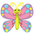 colorful butterfly with happy face vector image