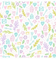 cute doodle seamless pattern vector image