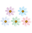 daisy flowers set isolated 3d vector image vector image