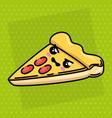 delicious pizza kawaii character vector image