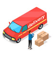 delivery service concept red freight car vector image