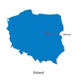 detailed map poland and capital city warsaw vector image