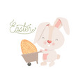 easter label with rabbit isolated icon vector image vector image