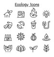 ecology sustainable lifestyle icon set in thin vector image