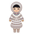 eskimo clothes north girl vector image vector image