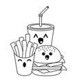 fast food kawaii cartoon in black and white vector image vector image