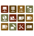 Flat Network Server and Hosting icons vector image vector image