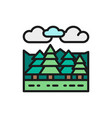 forest and trees landscape flat color line icon