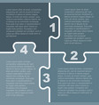 four grey piece puzzle infographic 4 step vector image vector image