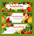 Fruit shop banners of fresh natural fruits