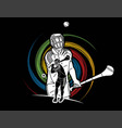 group hurling sport players action vector image