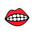 human red lips in smile with white teeth vector image vector image