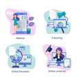 internet education web classroom for distance vector image vector image