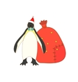 Isolated Christmas King penguin vector image