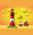 lighthouse with seascape vector image vector image