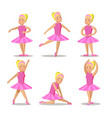 little ballerina in pink dress cartoon characters vector image vector image