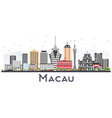 macau china city skyline silhouette with golden vector image vector image