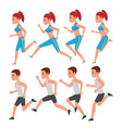 male and female running animation frames vector image