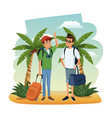 male friends at beach vector image vector image