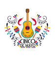 mexican guitar with maracas and chili peppers vector image vector image