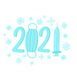 new year 2021 logo with coronavirus pandemic vector image vector image