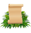 old rolled up paper scroll on the leaves vector image vector image