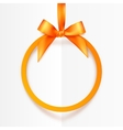Orange round hanging frame with silky bow and vector image vector image