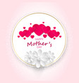 red hearts and white paper flowers in a round vector image