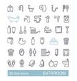 restroom bathroom toilet con set line style vector image vector image