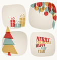 Retro Christmas card with christmas tree gifts and vector image