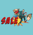 sale man with shopping bags vector image