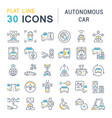 set line icons autonomous car vector image