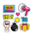 set pop art message and creative design vector image