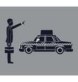 silhouette cab car passenger user service public vector image