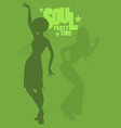 silhouette of girl dancing soul funky or disco vector image