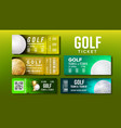 stylish design tickets visit golf game set vector image vector image