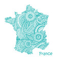 textured map of france hand drawn ethno vector image
