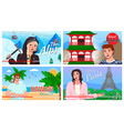 traveling to different countries and cities vector image
