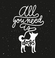 trendy hipster with dog silhouette and lettering vector image vector image