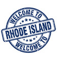 welcome to rhode island blue round vintage stamp vector image vector image
