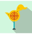 Yellow duck target flat icon vector image vector image