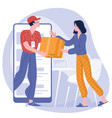 young woman receiving parcel from delivery service vector image
