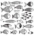 Set of hand drawn funny fishes in sketch style vector image