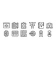 12 set linear design thinking icons thin vector image vector image